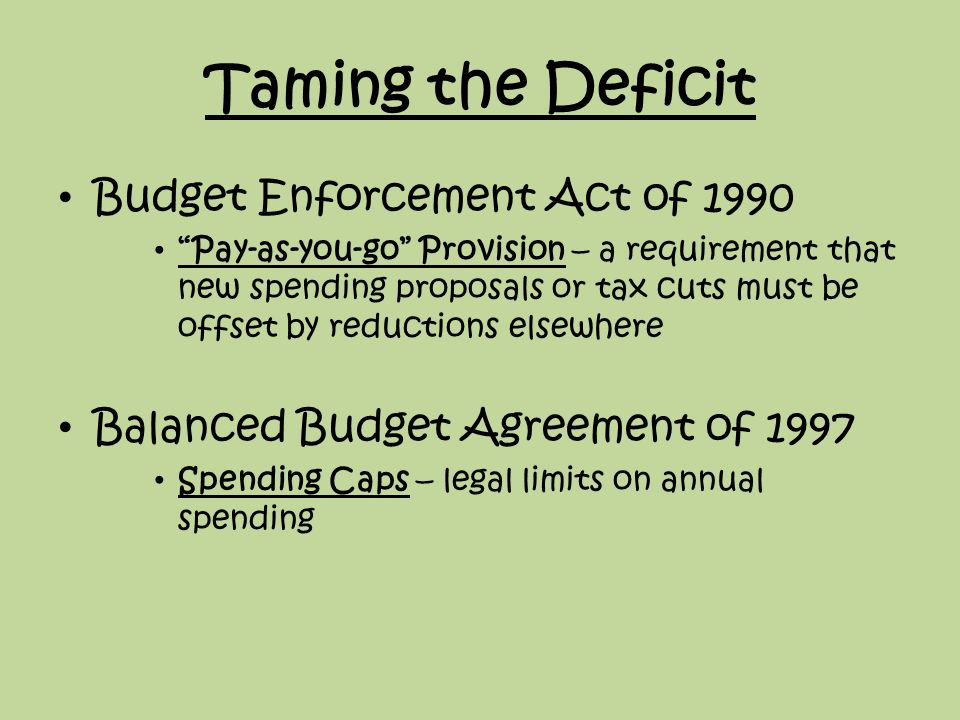 The economics of government spending ppt video online download taming the deficit budget enforcement act of 1990 platinumwayz