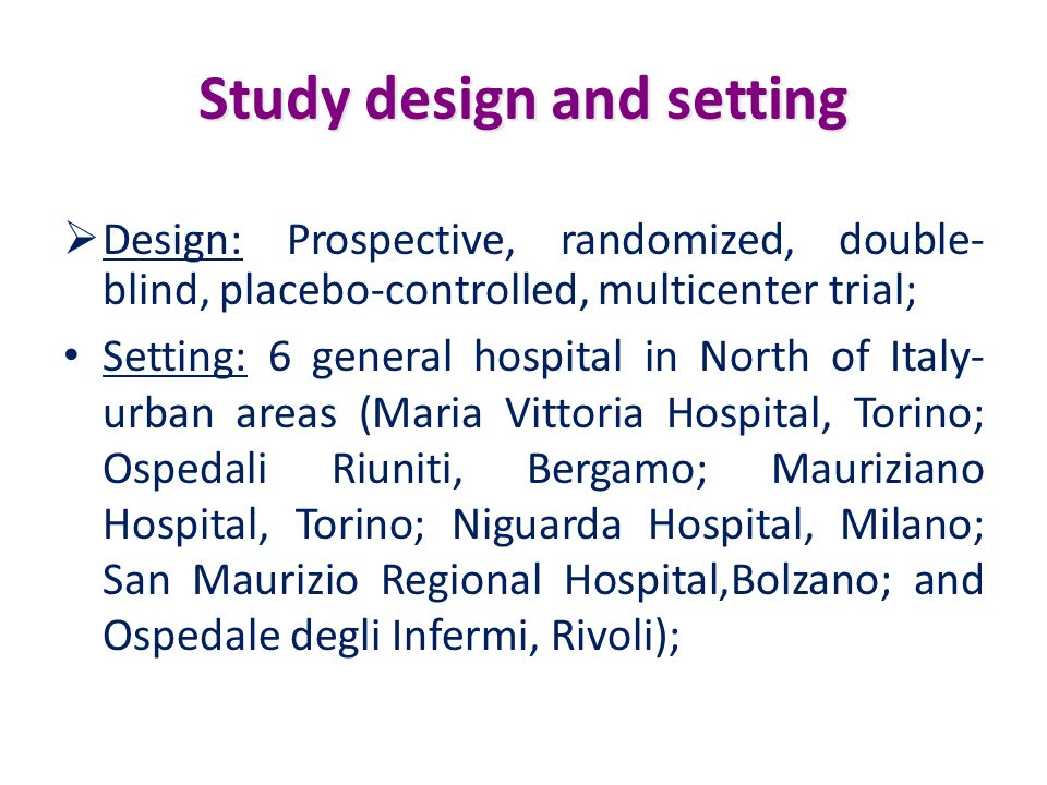 Study design and setting
