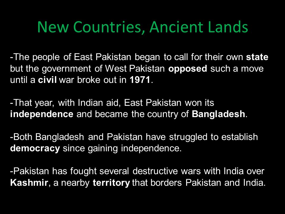 New Countries, Ancient Lands