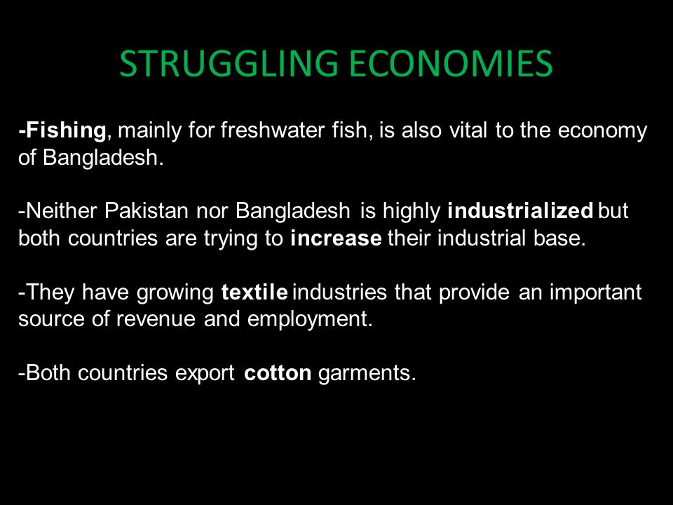 STRUGGLING ECONOMIES -Fishing, mainly for freshwater fish, is also vital to the economy of Bangladesh.