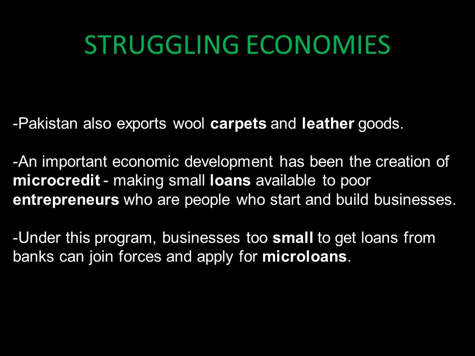 STRUGGLING ECONOMIES -Pakistan also exports wool carpets and leather goods.