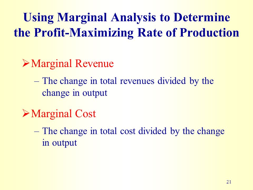 marginal analysis and profit maximization Marginal analysis and profit maximization task a at the point of profit maximization within any firm, the aspects of both marginal revenue and marginal cost play a.