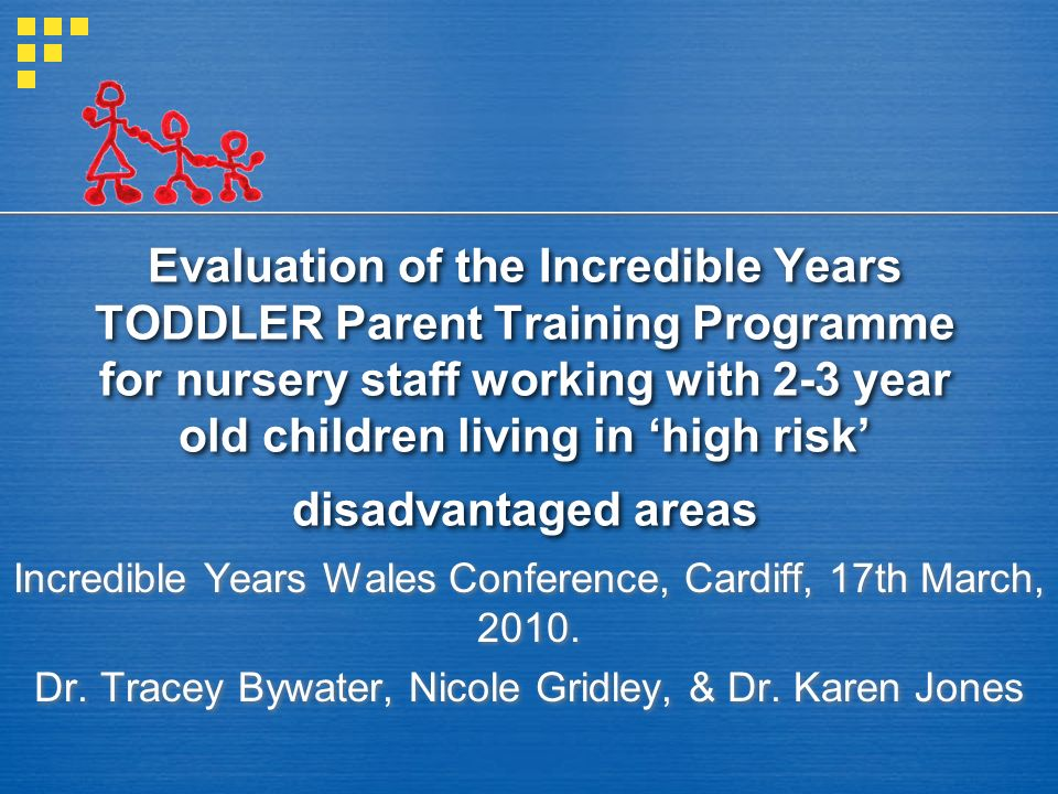Evaluation of the Incredible Years TODDLER Parent Training Programme for nursery staff working with 2-3 year old children living in 'high risk' disadvantaged areas