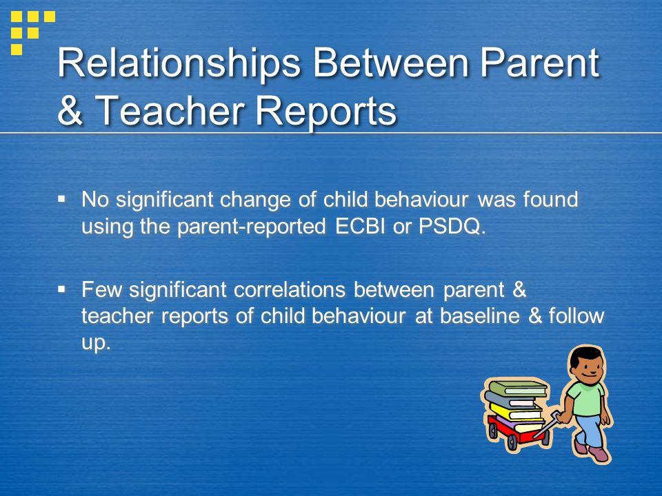 Relationships Between Parent & Teacher Reports
