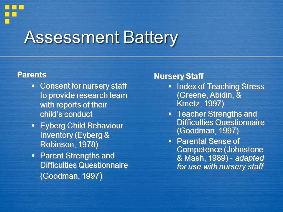 Assessment Battery Parents Nursery Staff