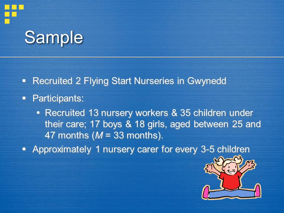 Sample Recruited 2 Flying Start Nurseries in Gwynedd Participants: