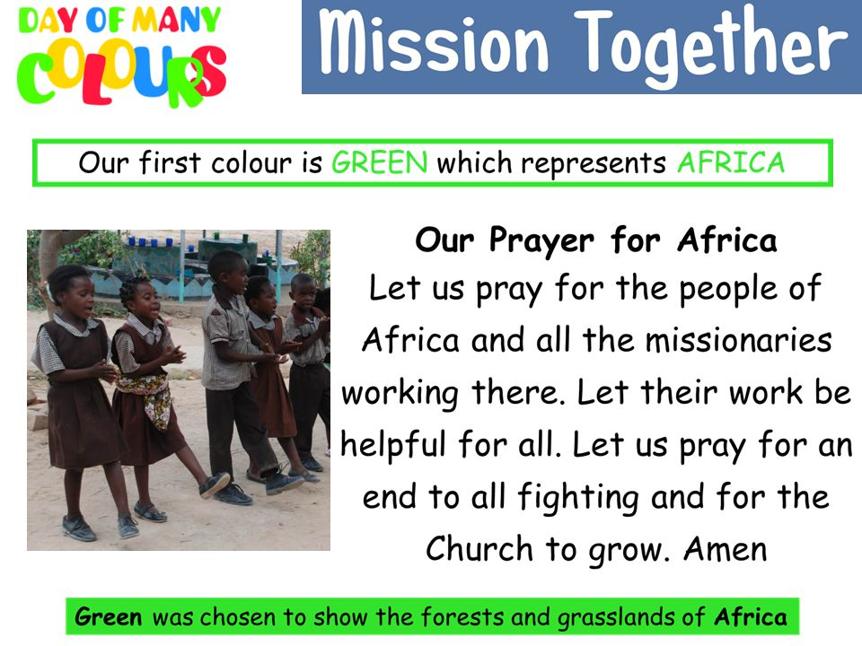 Our first prayer is for Africa.