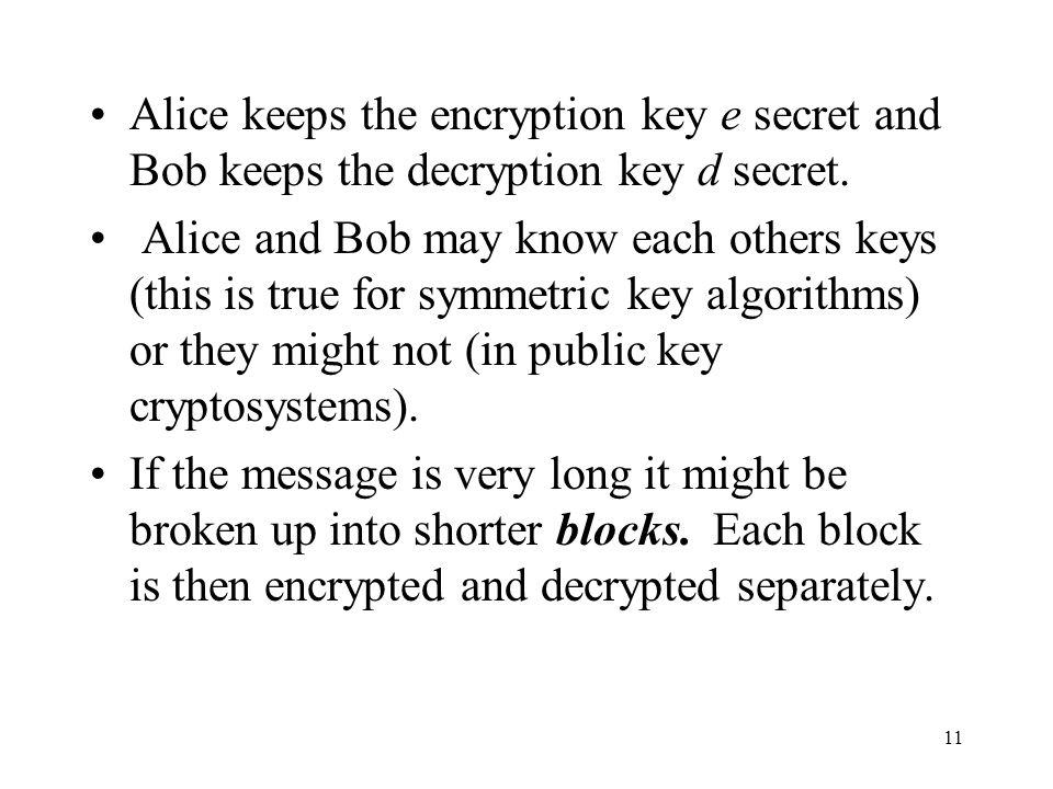 Alice keeps the encryption key e secret and Bob keeps the decryption key d secret.