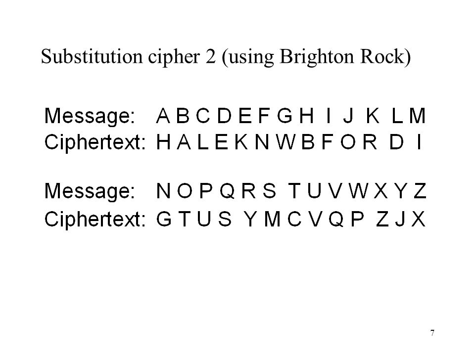 Substitution cipher 2 (using Brighton Rock)