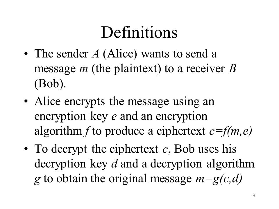 Definitions The sender A (Alice) wants to send a message m (the plaintext) to a receiver B (Bob).