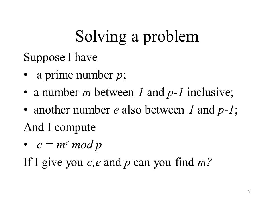 Solving a problem Suppose I have a prime number p;