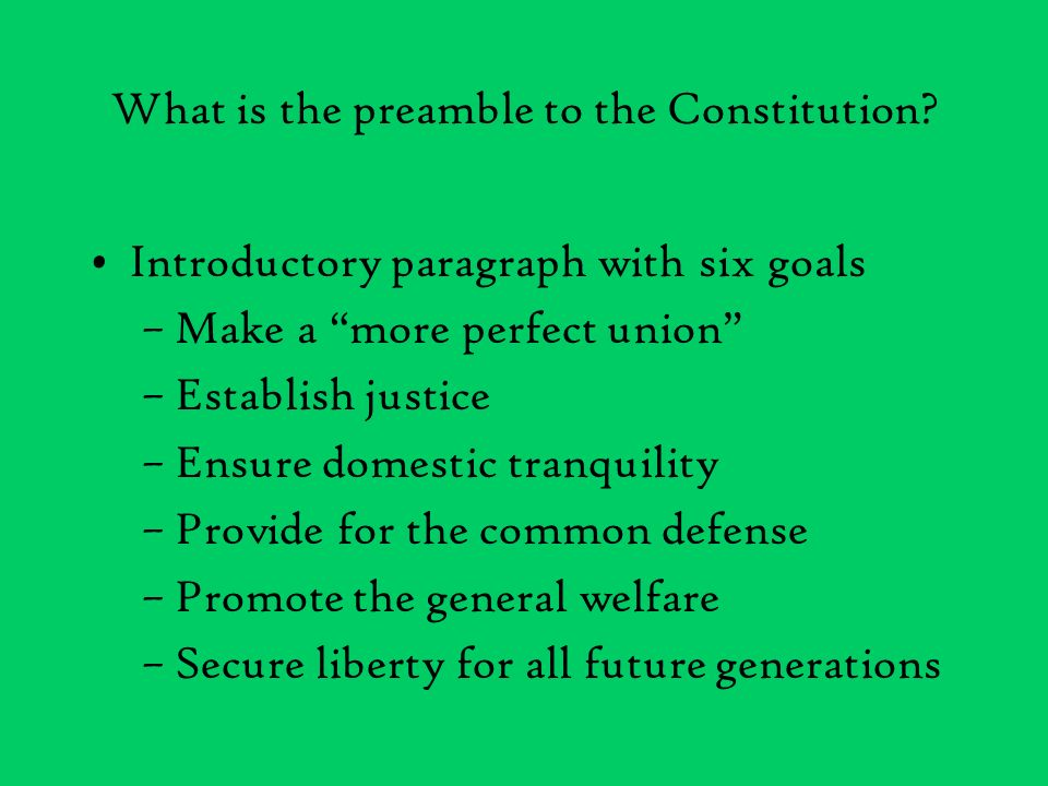 What is the preamble to the Constitution