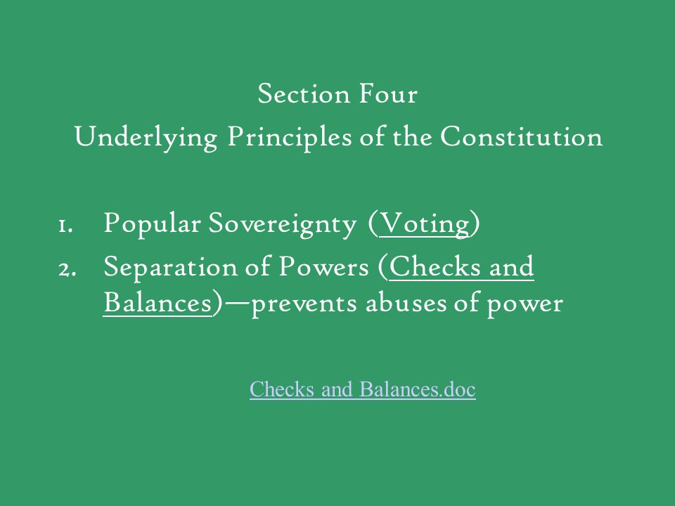 Underlying Principles of the Constitution Popular Sovereignty (Voting)