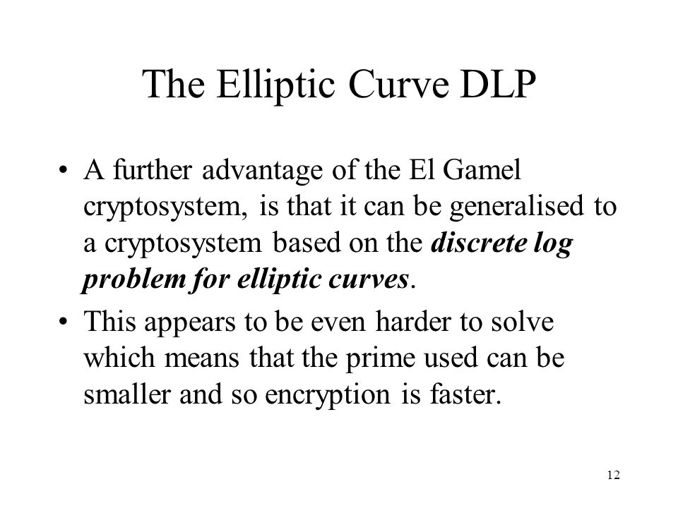 The Elliptic Curve DLP