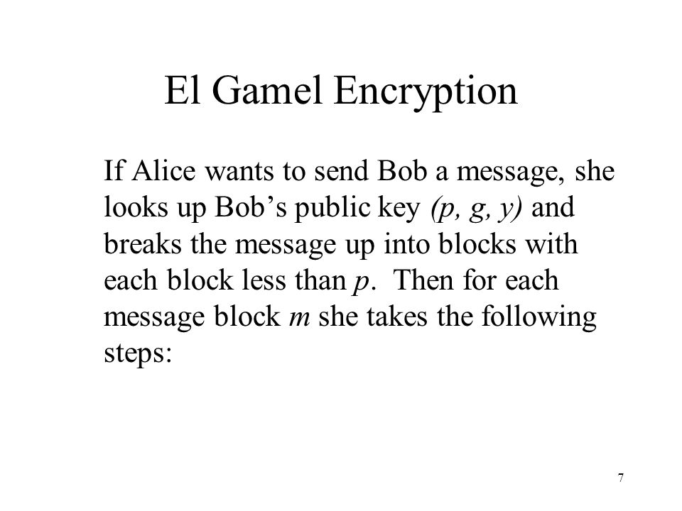 El Gamel Encryption