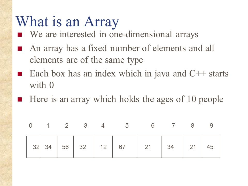 What is an Array We are interested in one-dimensional arrays