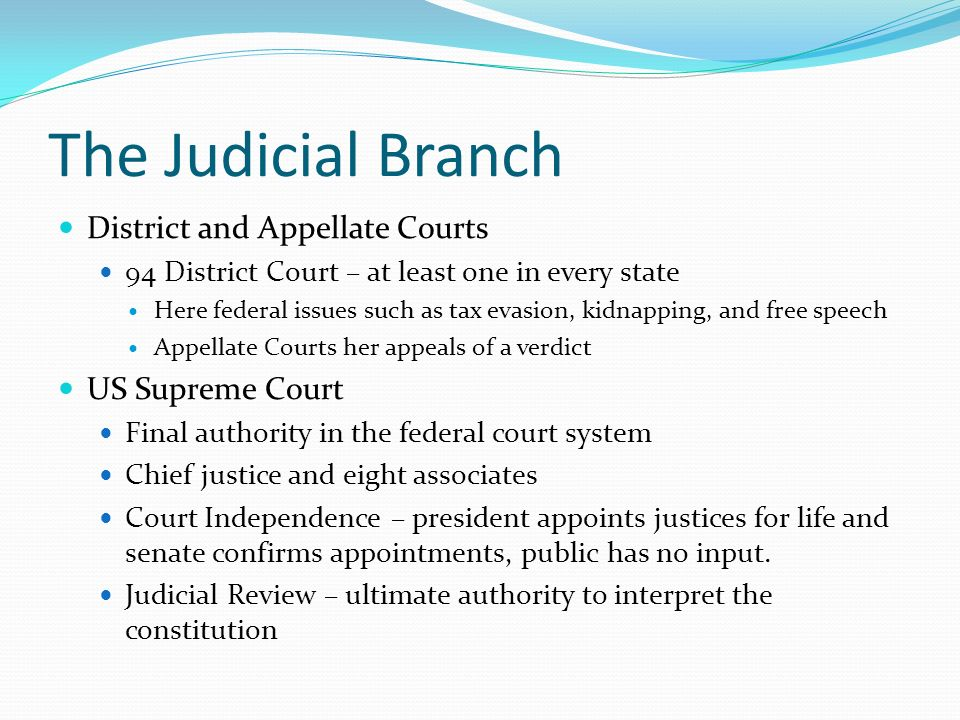 The Judicial Branch District and Appellate Courts US Supreme Court