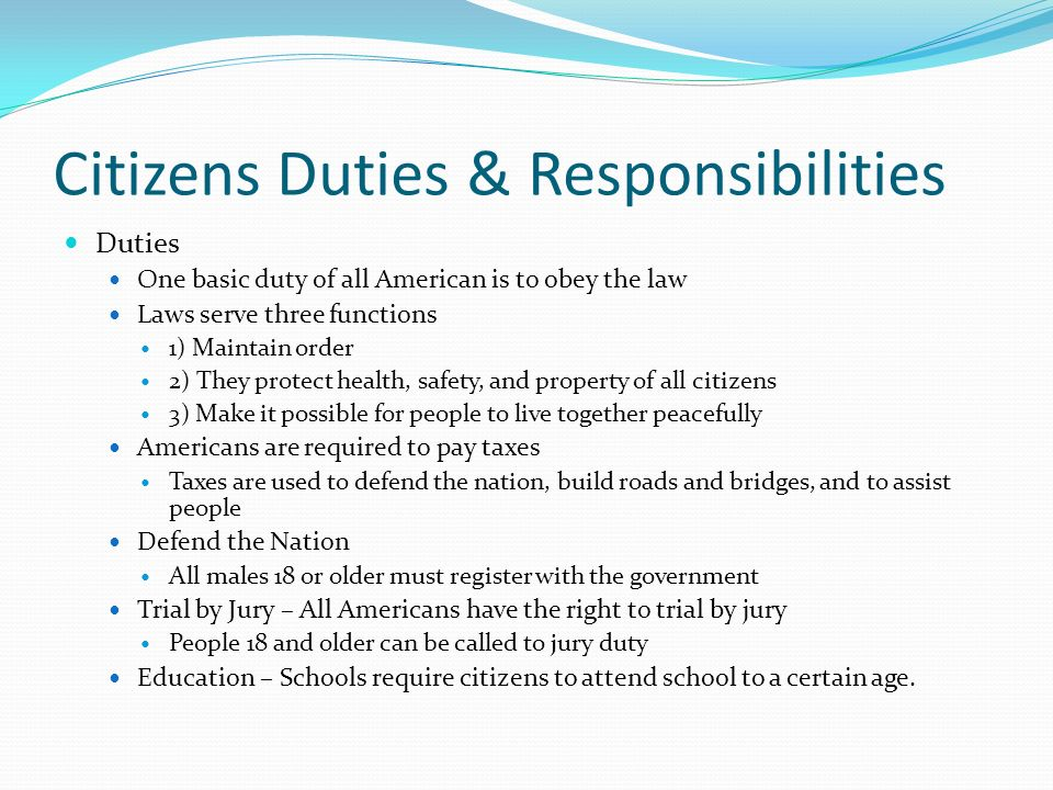 Citizens Duties & Responsibilities