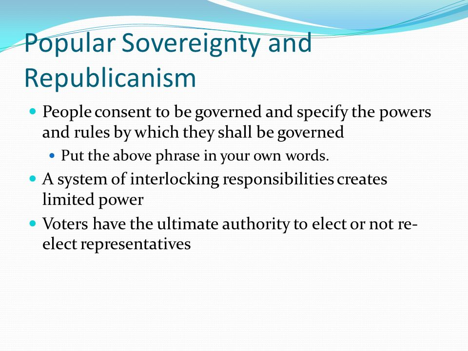 Popular Sovereignty and Republicanism