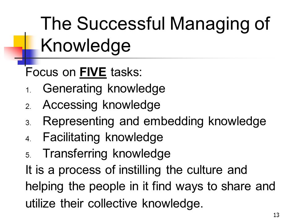 The Successful Managing of Knowledge