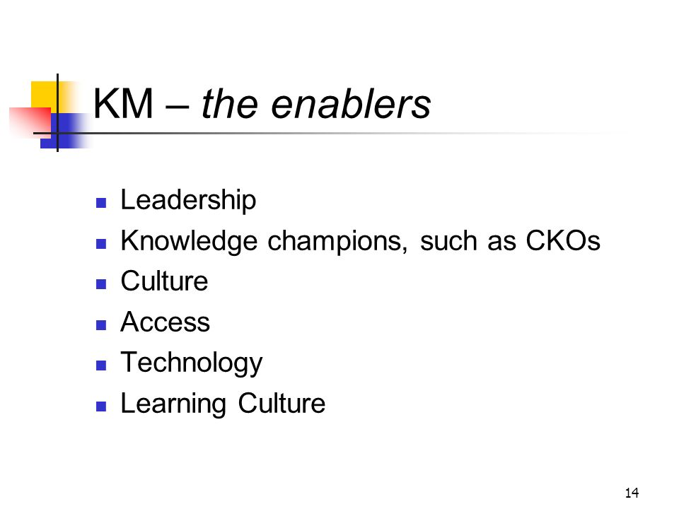 KM – the enablers Leadership Knowledge champions, such as CKOs Culture