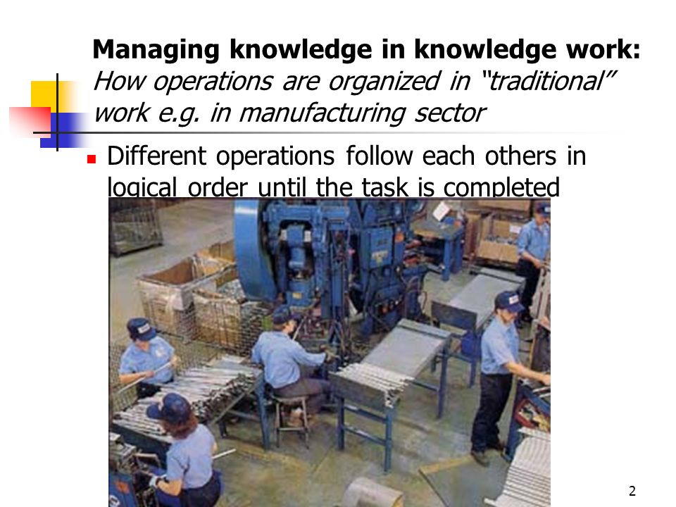 Managing knowledge in knowledge work: How operations are organized in traditional work e.g. in manufacturing sector