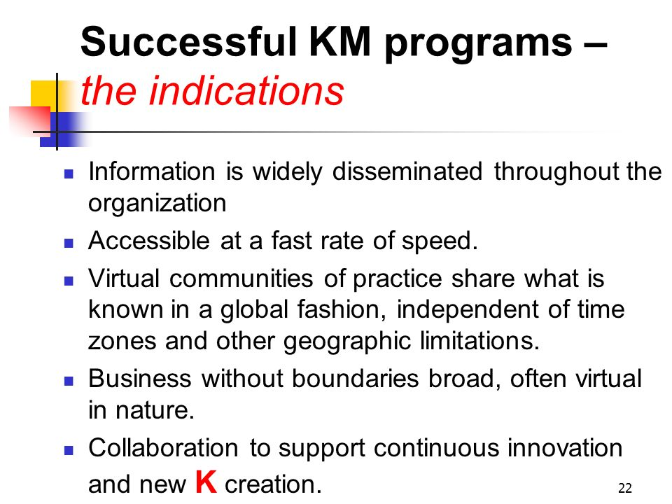 Successful KM programs – the indications
