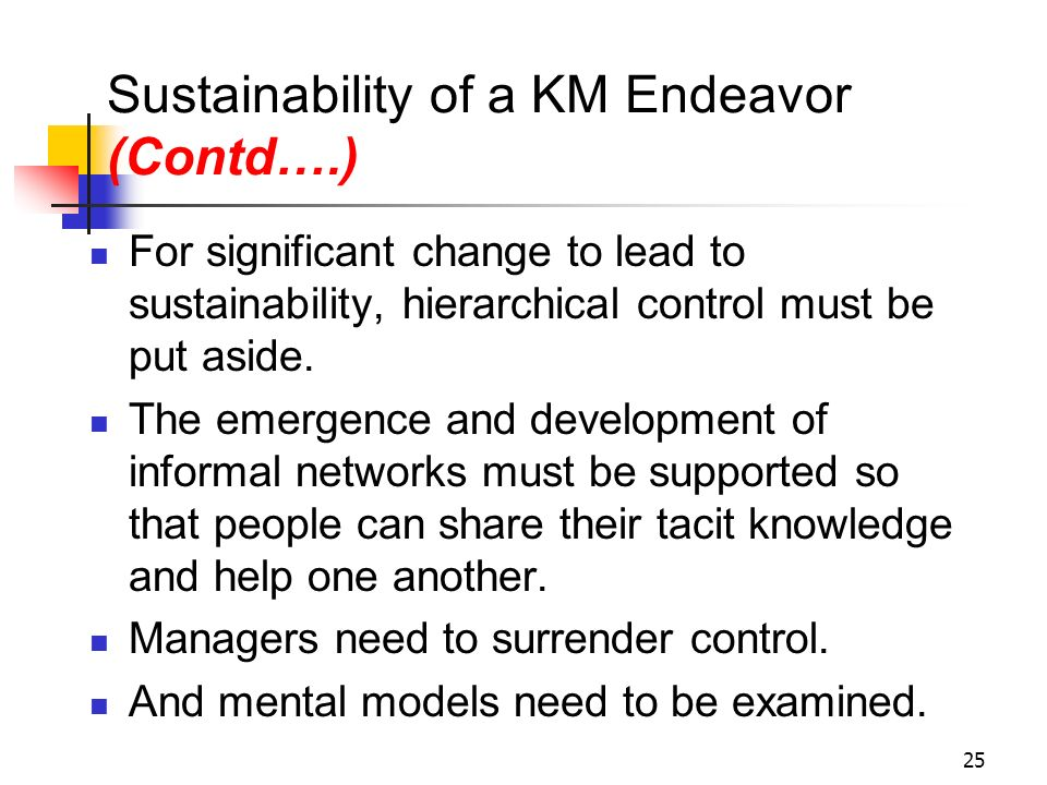 Sustainability of a KM Endeavor (Contd….)