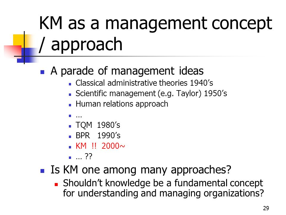 KM as a management concept / approach