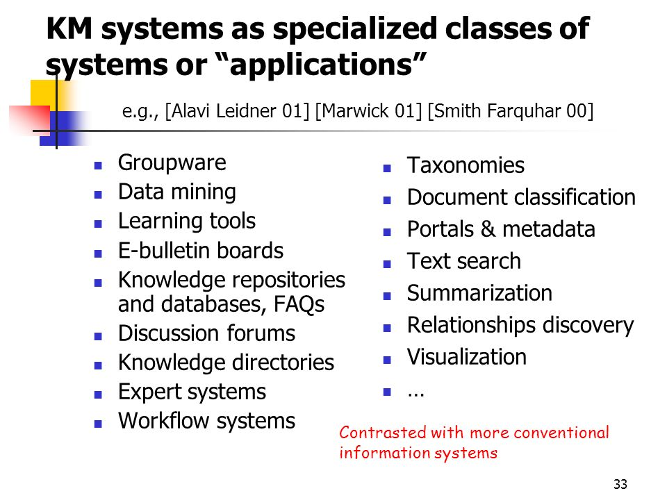 KM systems as specialized classes of systems or applications e. g