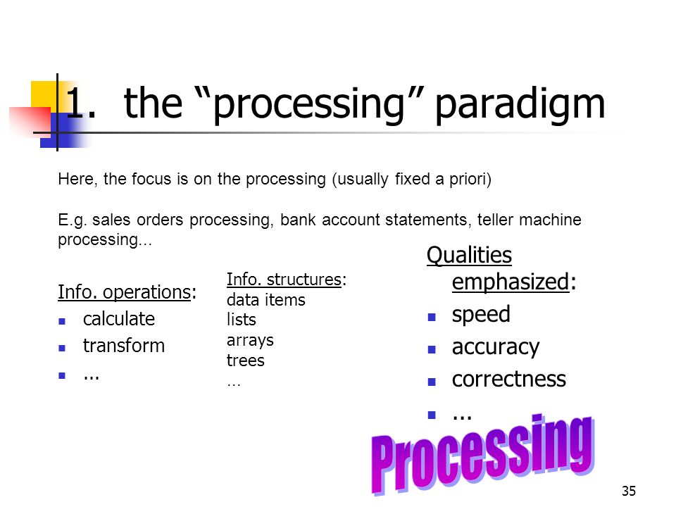 1. the processing paradigm