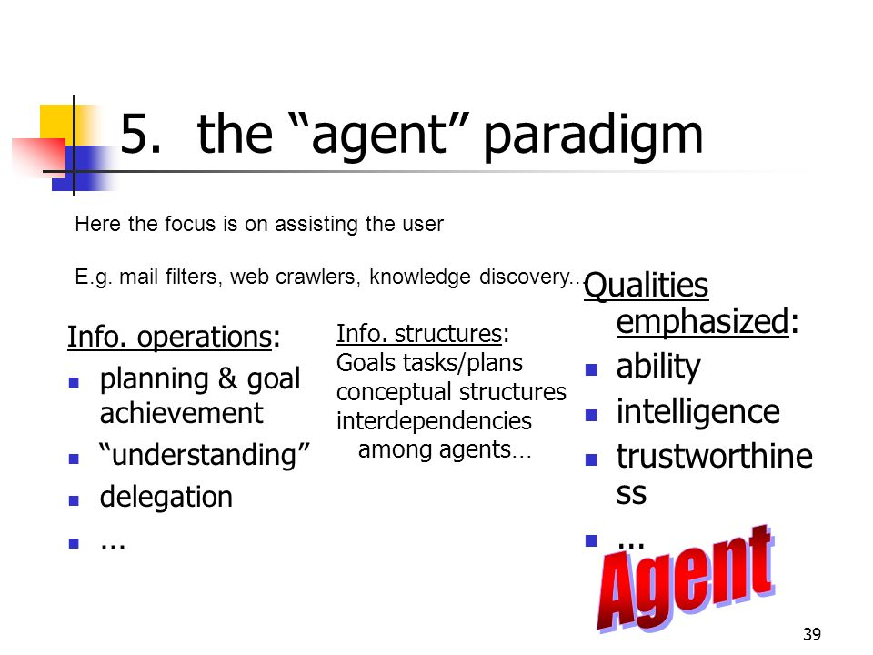 5. the agent paradigm Agent Qualities emphasized: ability