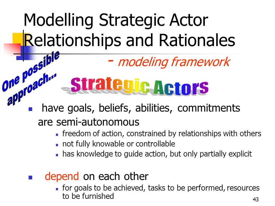 Modelling Strategic Actor Relationships and Rationales