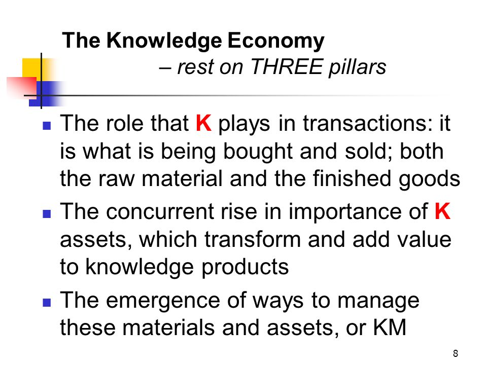 The Knowledge Economy – rest on THREE pillars
