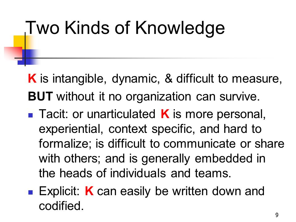 Two Kinds of Knowledge K is intangible, dynamic, & difficult to measure, BUT without it no organization can survive.