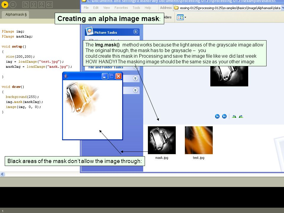 Creating an alpha image mask: