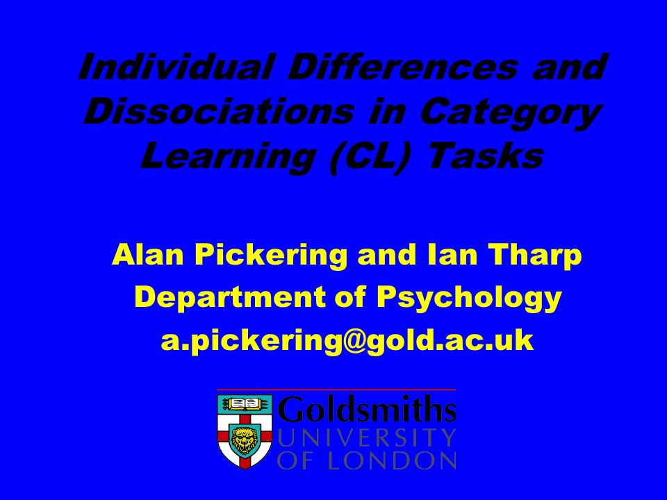 Individual Differences and Dissociations in Category Learning (CL) Tasks
