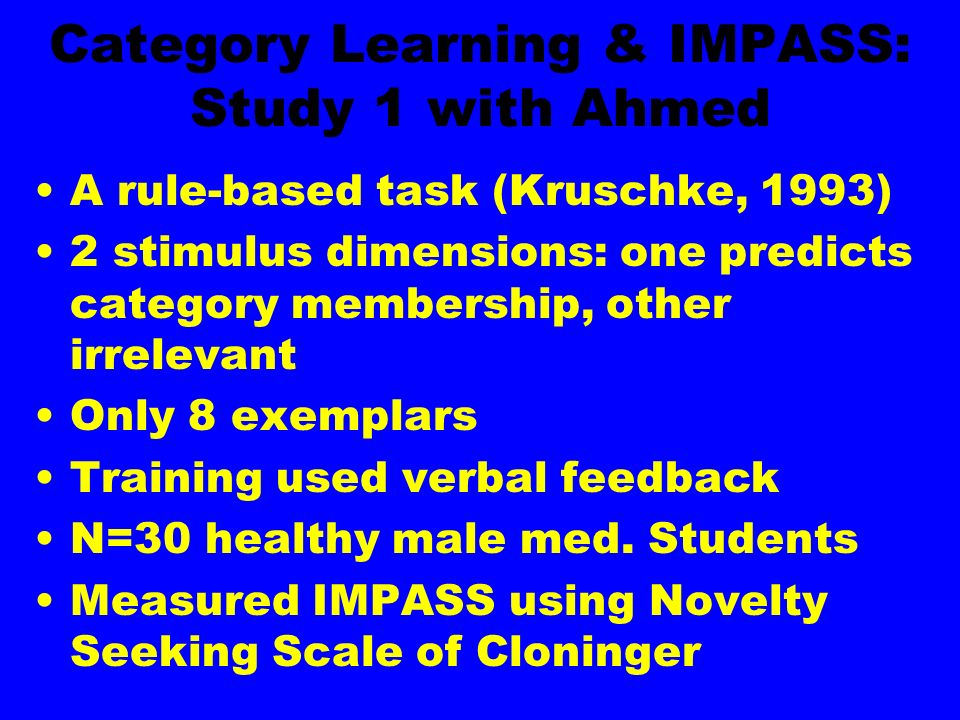 Category Learning & IMPASS: Study 1 with Ahmed