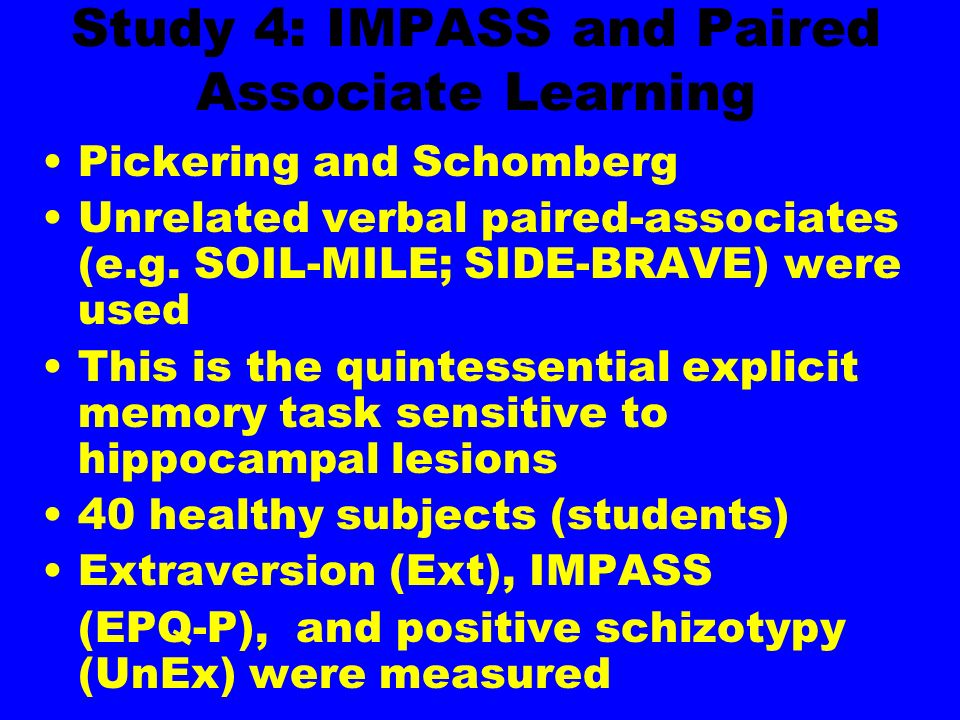 Study 4: IMPASS and Paired Associate Learning