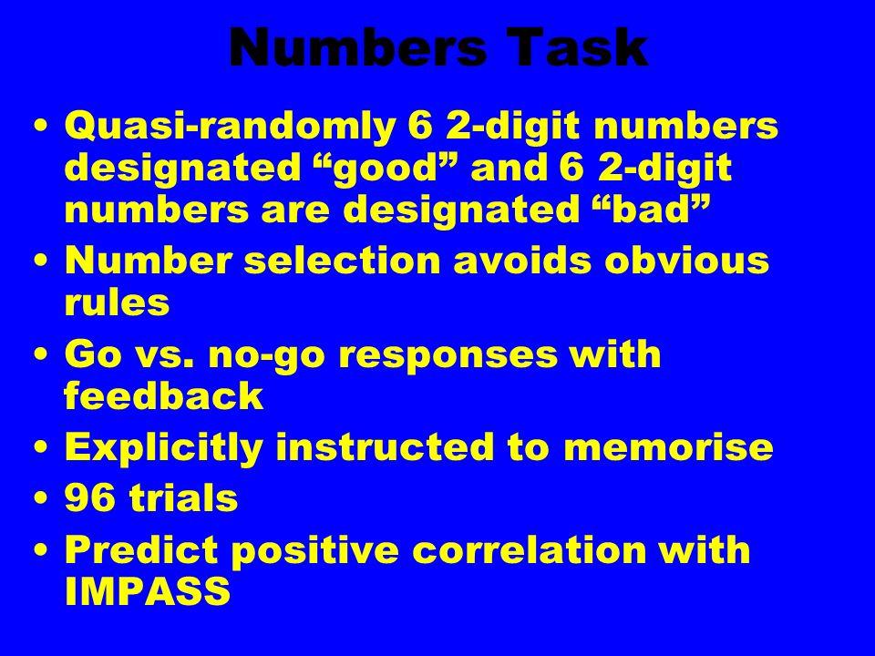 Numbers Task Quasi-randomly 6 2-digit numbers designated good and 6 2-digit numbers are designated bad