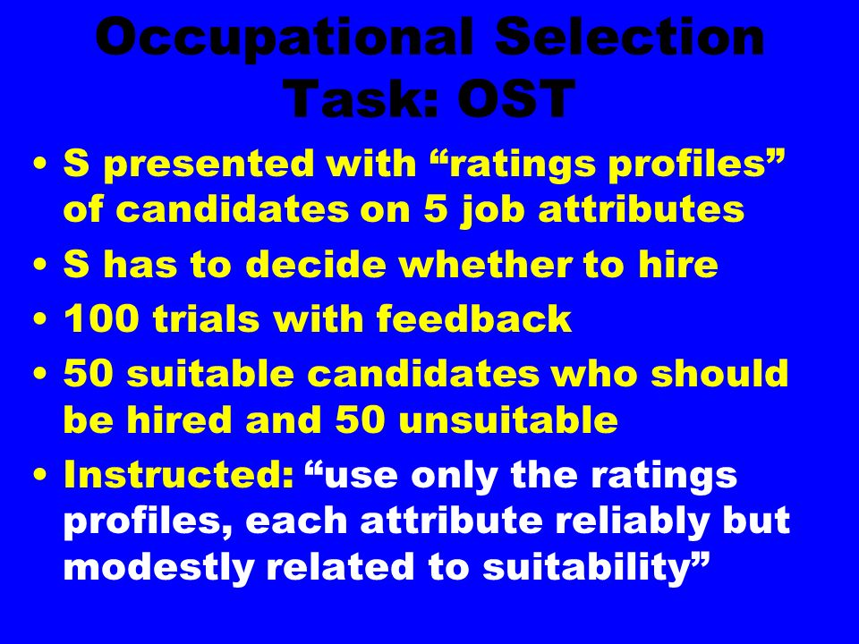 Occupational Selection Task: OST