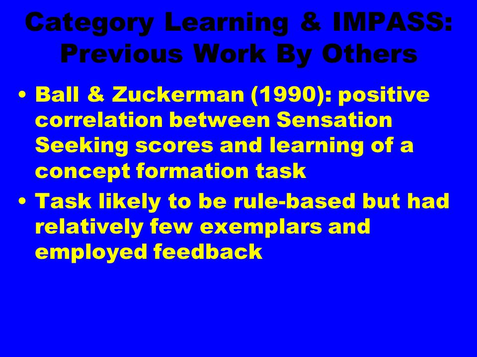 Category Learning & IMPASS: Previous Work By Others