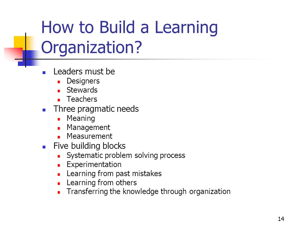 How to Build a Learning Organization