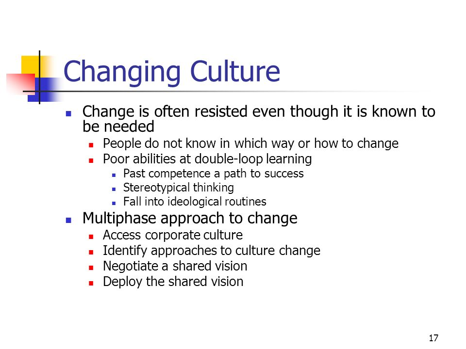 Changing Culture Change is often resisted even though it is known to be needed. People do not know in which way or how to change.