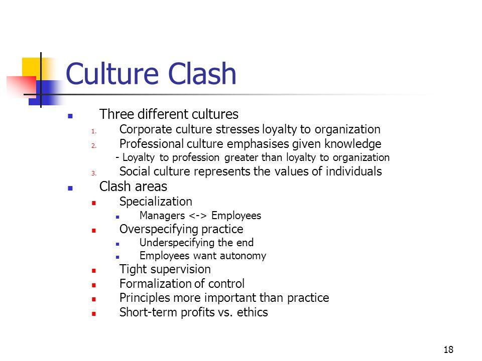Culture Clash Three different cultures Clash areas