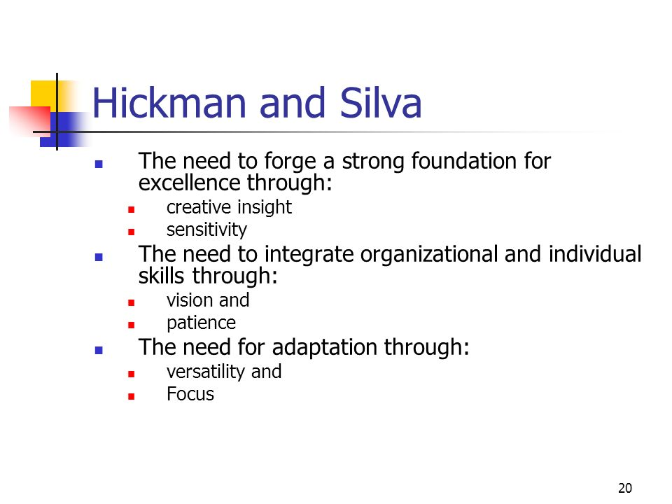 Hickman and Silva The need to forge a strong foundation for excellence through: creative insight. sensitivity.