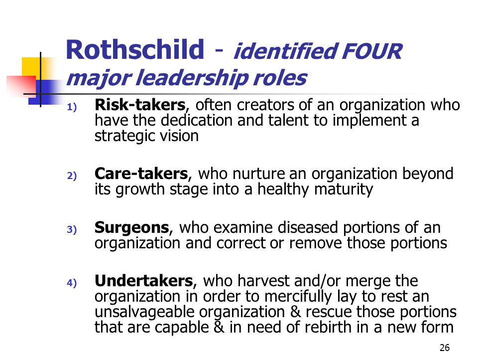 Rothschild - identified FOUR major leadership roles