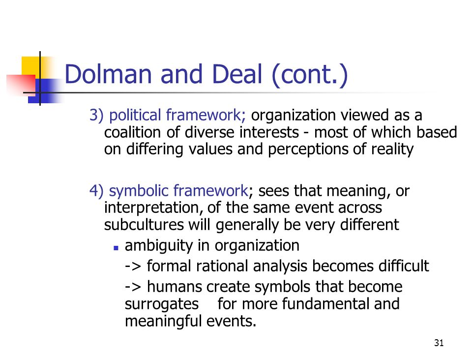 Dolman and Deal (cont.)