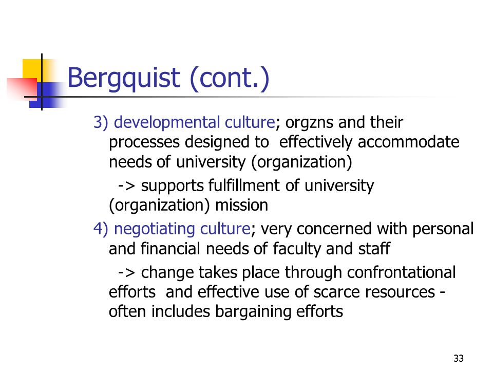 Bergquist (cont.) 3) developmental culture; orgzns and their processes designed to effectively accommodate needs of university (organization)