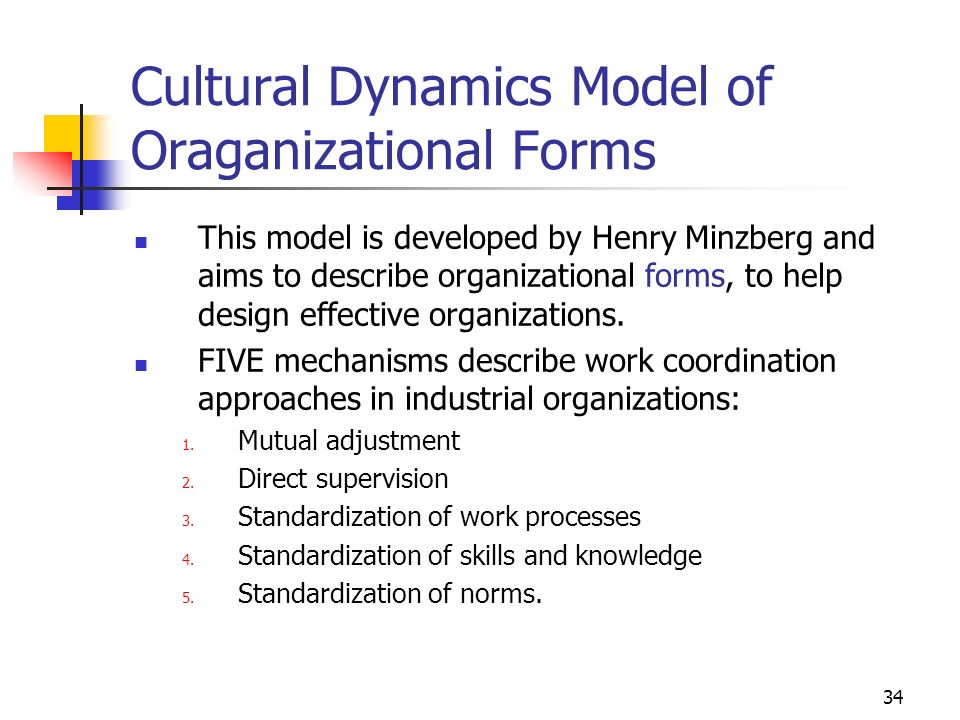 Cultural Dynamics Model of Oraganizational Forms